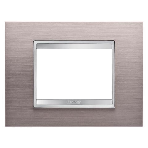 Рамка LUX 3 модула - метал - Brushed Aluminium