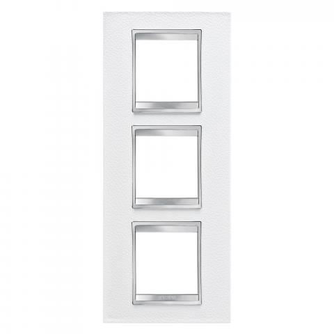 LUX International 2+2+2 gang vertical plate - Leather - White
