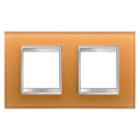 Рамка LUX International 2+2 хоризонтална - стъкло - Ochre