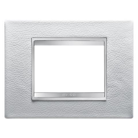 Рамка LUX 3 модула - кожа - White