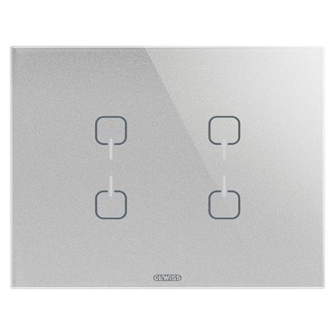 Plate ICE TOUCH KNX - 4 Symbols - Glass - Titanium