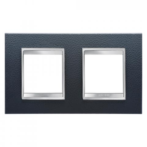 Рамка LUX International 2+2 хоризонтална - кожа - Black