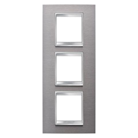 LUX International 2+2+2 gang vertical plate - Brushed Stainless Steel