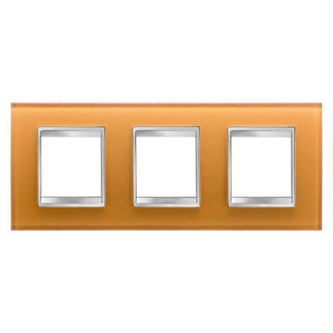LUX International 2+2+2 gang horizontal plate - Glass - Ochre