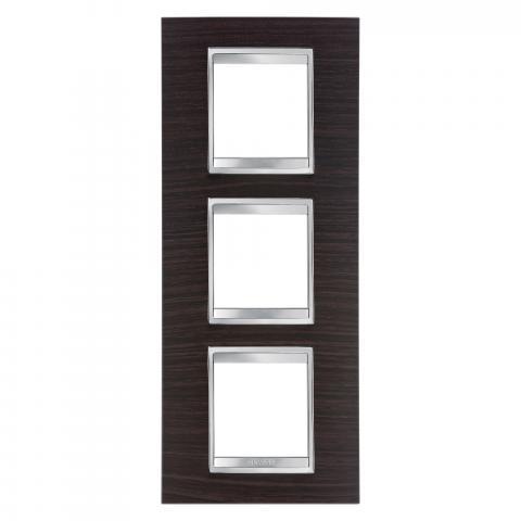 LUX International 2+2+2 gang vertical plate - Wood - Wenge