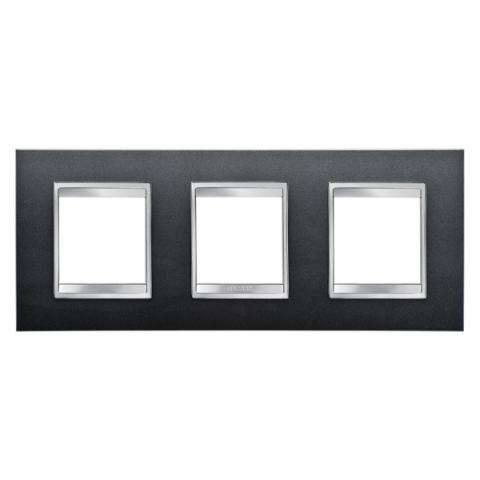 LUX International 2+2+2 gang horizontal plate - Slate