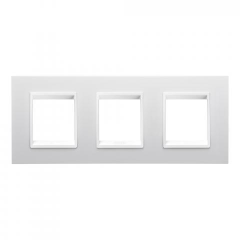 LUX International 2+2+2 gang horizontal plate - Monochrome Milk White