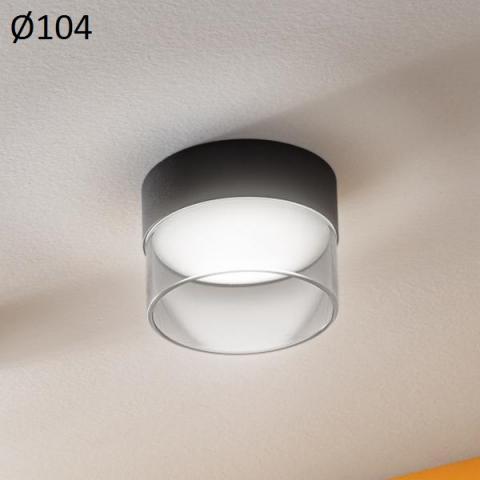 Ceiling Lamp Ø104mm LED 10W 3000K Black/Transparent