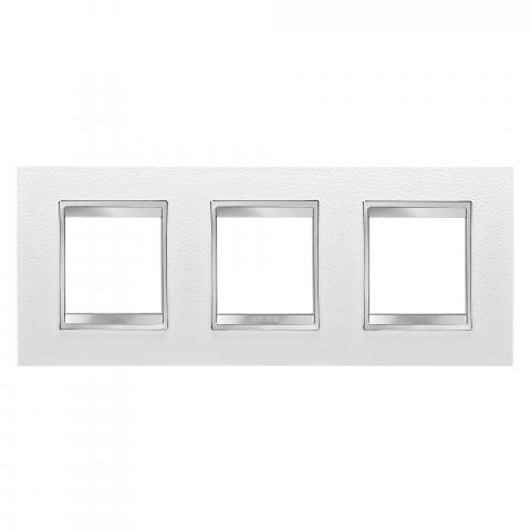LUX International 2+2+2 gang horizontal plate - Leather - White