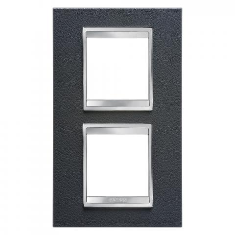 Рамка LUX International 2+2 вертикална - кожа - Black