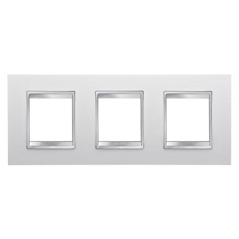 LUX International 2+2+2 gang horizontal plate - Milk White