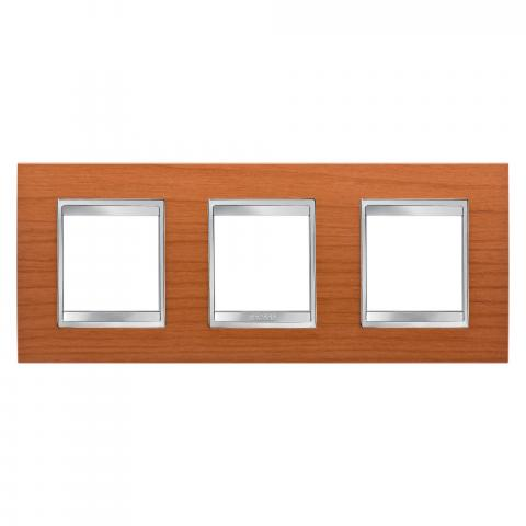 LUX International 2+2+2 gang horizontal plate - wood - Cherry