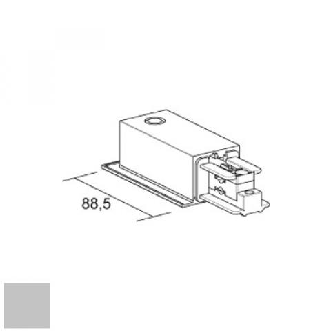 Right live end for LKM RECESSED track - silver
