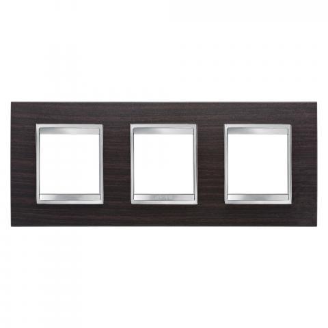 LUX International 2+2+2 gang horizontal plate - Wood - Wenge