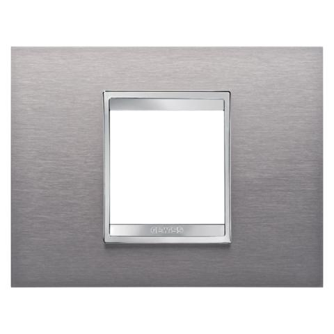 Рамка LUX 2 модула - Brushed Stainless Steel