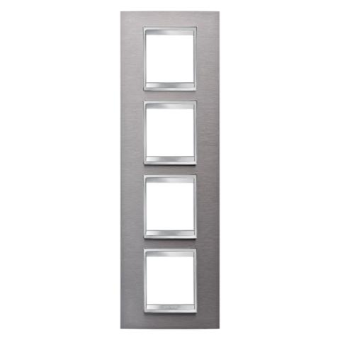 Рамка LUX International 2+2+2+2 вертикална - Brushed Stainless Steel