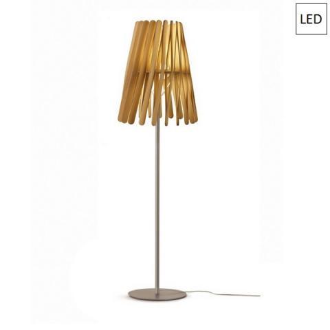 Наземна лампа Ø50cm 17W+8,7W LED светло дърво
