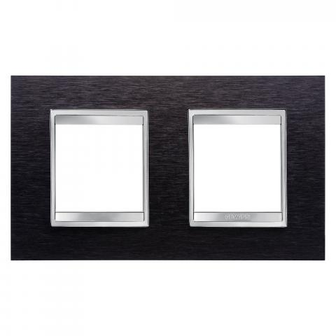 Рамка LUX International 2+2 хоризонтална - Black Aluminium