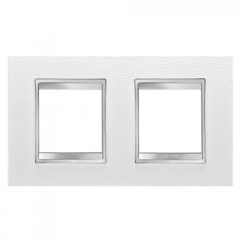 Рамка LUX International 2+2 хоризонтална - кожа - White