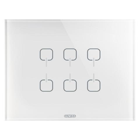 Plate ICE TOUCH KNX - 6 Symbols - Glass - White