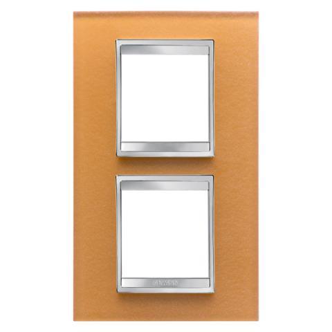 Рамка LUX International 2+2 вертикална - стъкло - Ochre