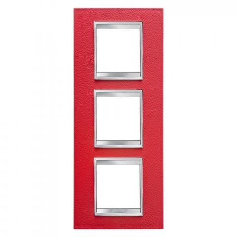 LUX International 2+2+2 gang vertical plate - Leather - Ruby