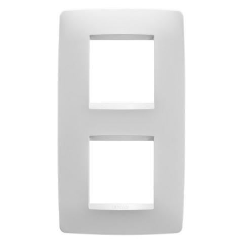 One International  2+2 gang vertical plate - Milk white