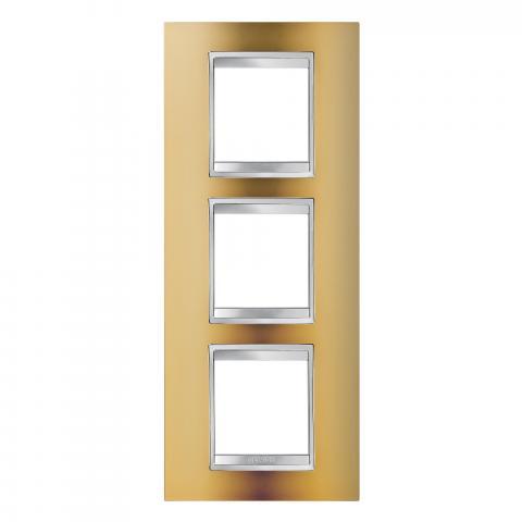 LUX International 2+2+2 gang vertical plate - Gold