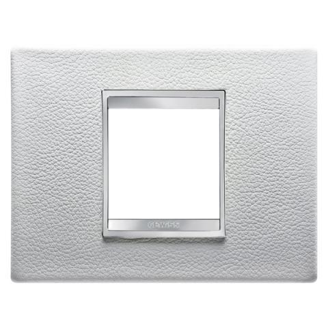 Рамка LUX 2 модула - кожа - White