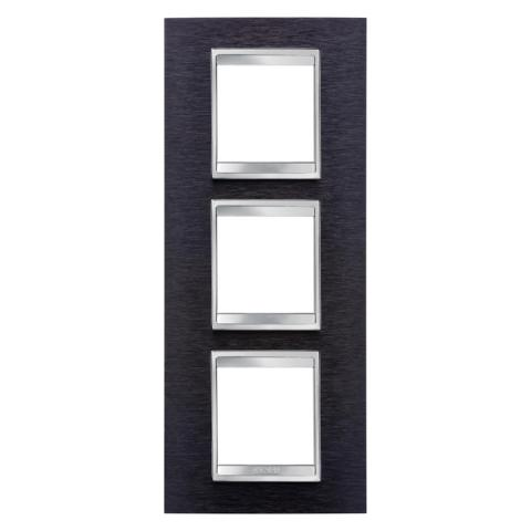 LUX International 2+2+2 gang vertical plate - Black Aluminium