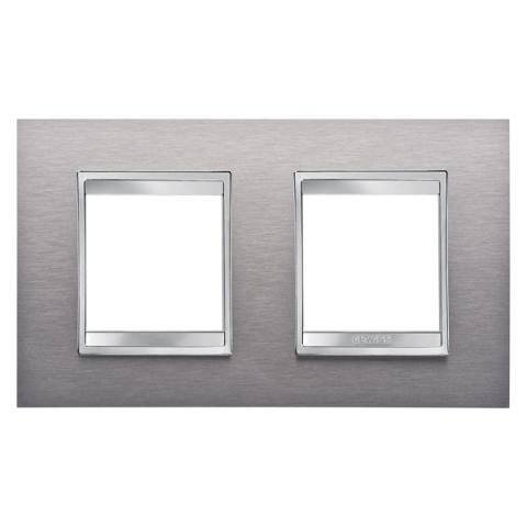 Рамка LUX International 2+2 хоризонтална - Brushed Stainless Steel
