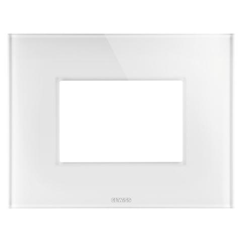 ICE plate - 3 gang - Glass - White