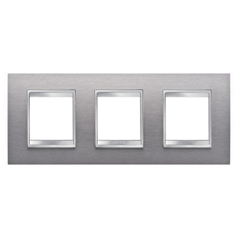 Рамка LUX International 2+2+2 хоризонтална - Brushed Stainless Steel