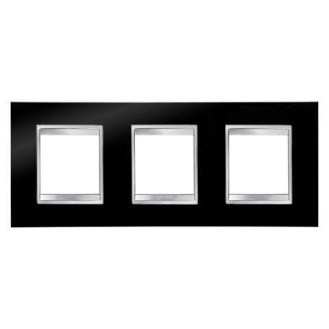 LUX International 2+2+2 gang horizontal plate - Toner Black