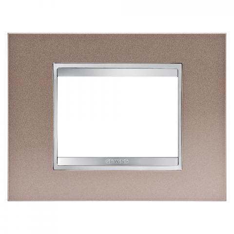 Рамка LUX 3 модула - метал - Pearly Bronze