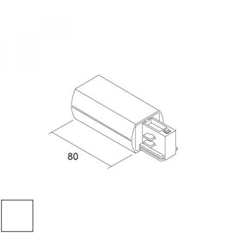 Дясно захранване за релса LKM ROUND - бяло