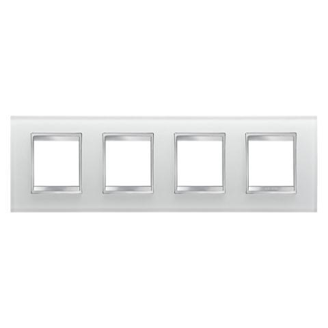 Рамка LUX International 2+2+2+2 хоризонтална - стъкло - Ice